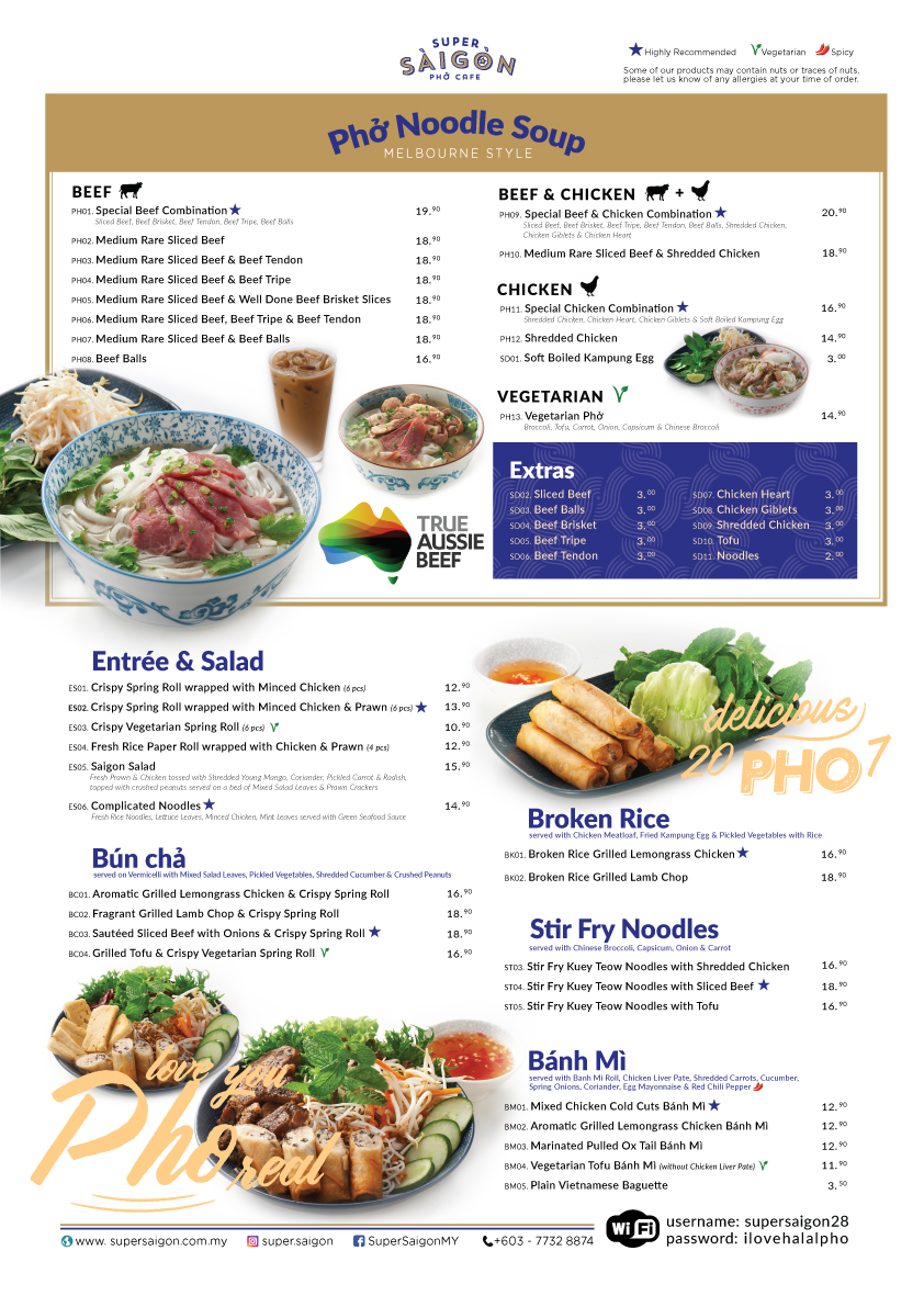 Saigon Cafe Group Menu